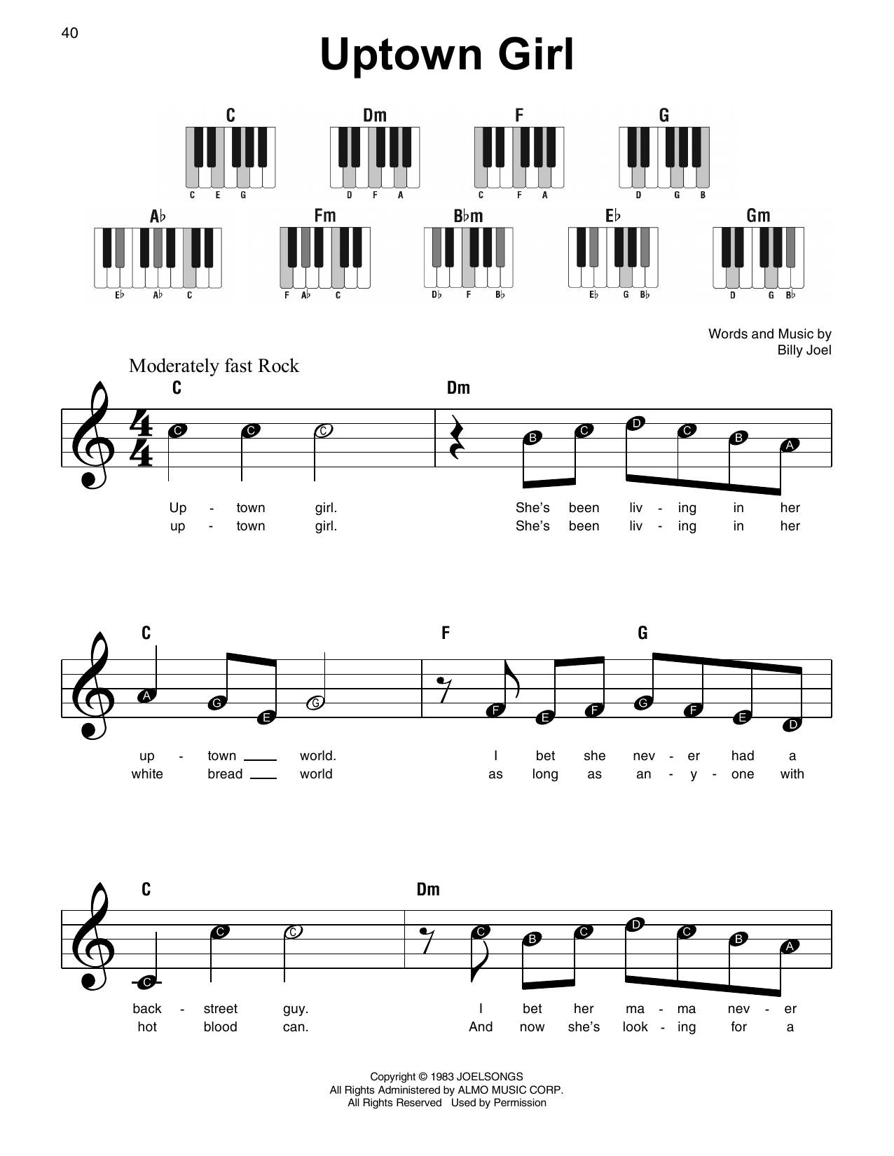 Uptown Girl (Super Easy Piano)