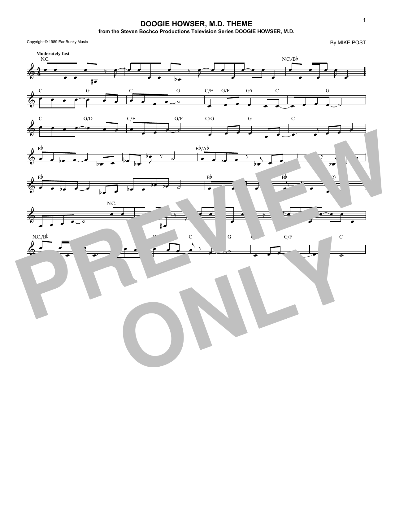 Doogie Howser, M.D. Theme (Lead Sheet / Fake Book)
