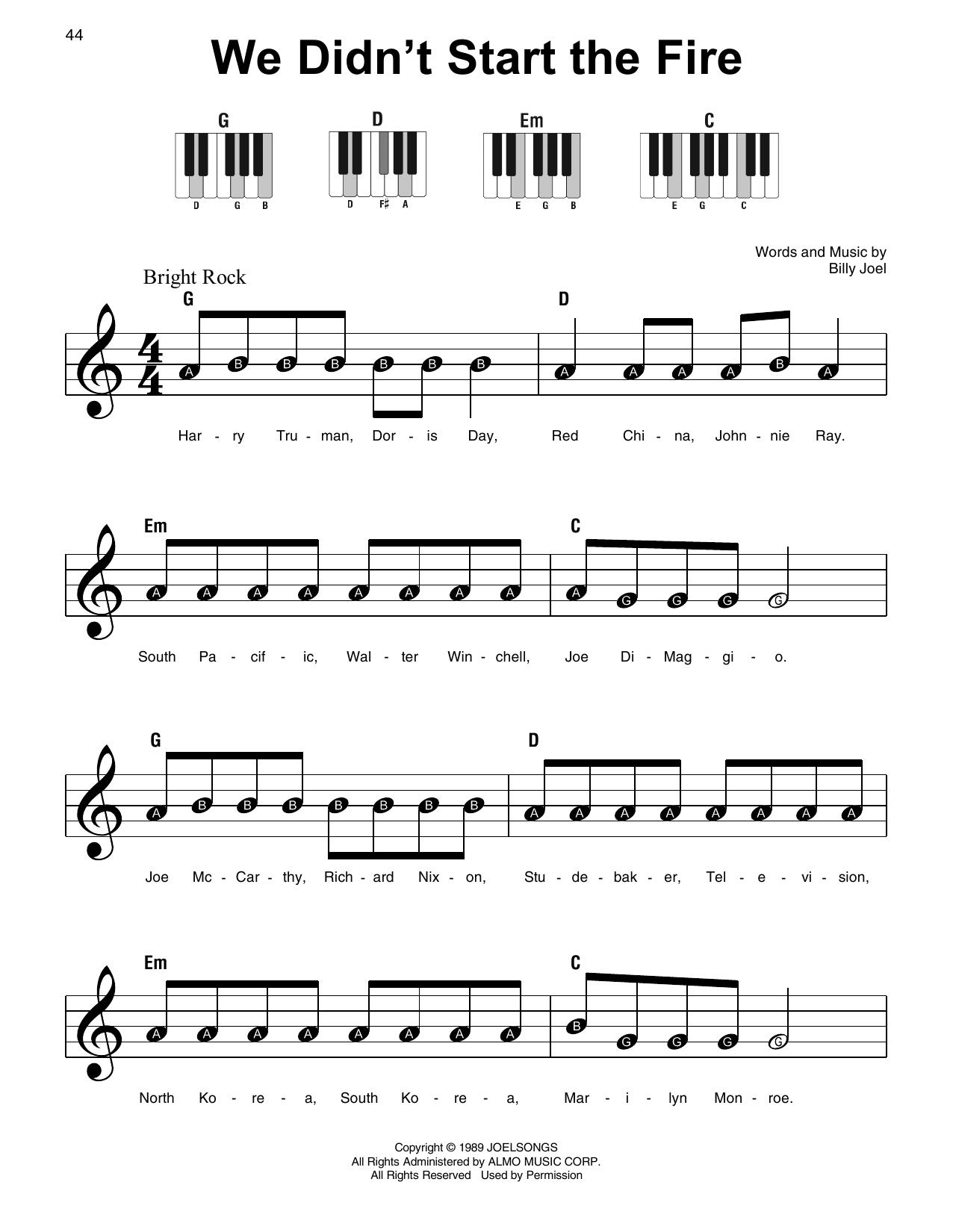 we didn't start the fire noten | billy joel | klavier, sehr leicht (super  easy)  sheet music direct