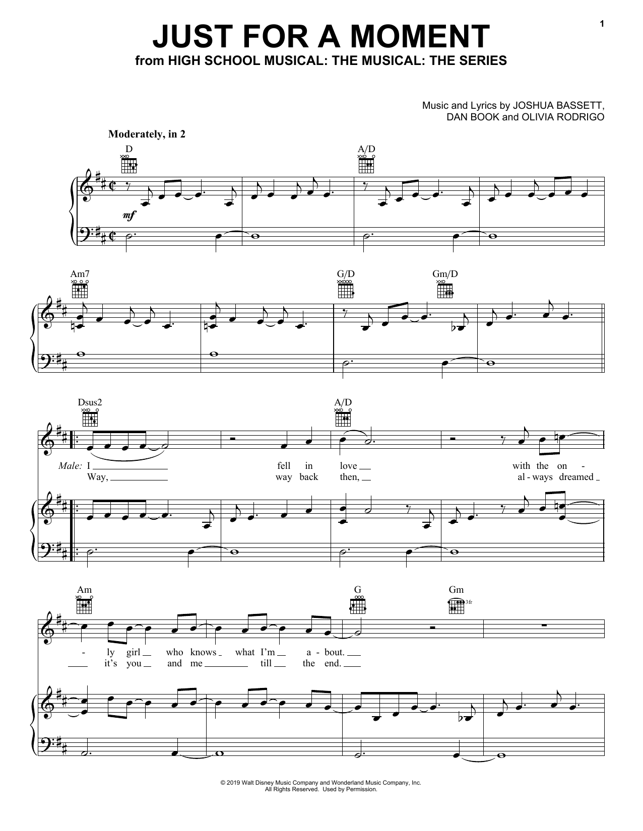 Just For A Moment (from High School Musical: The Musical: The Series) (Piano, Vocal & Guitar (Right-Hand Melody))
