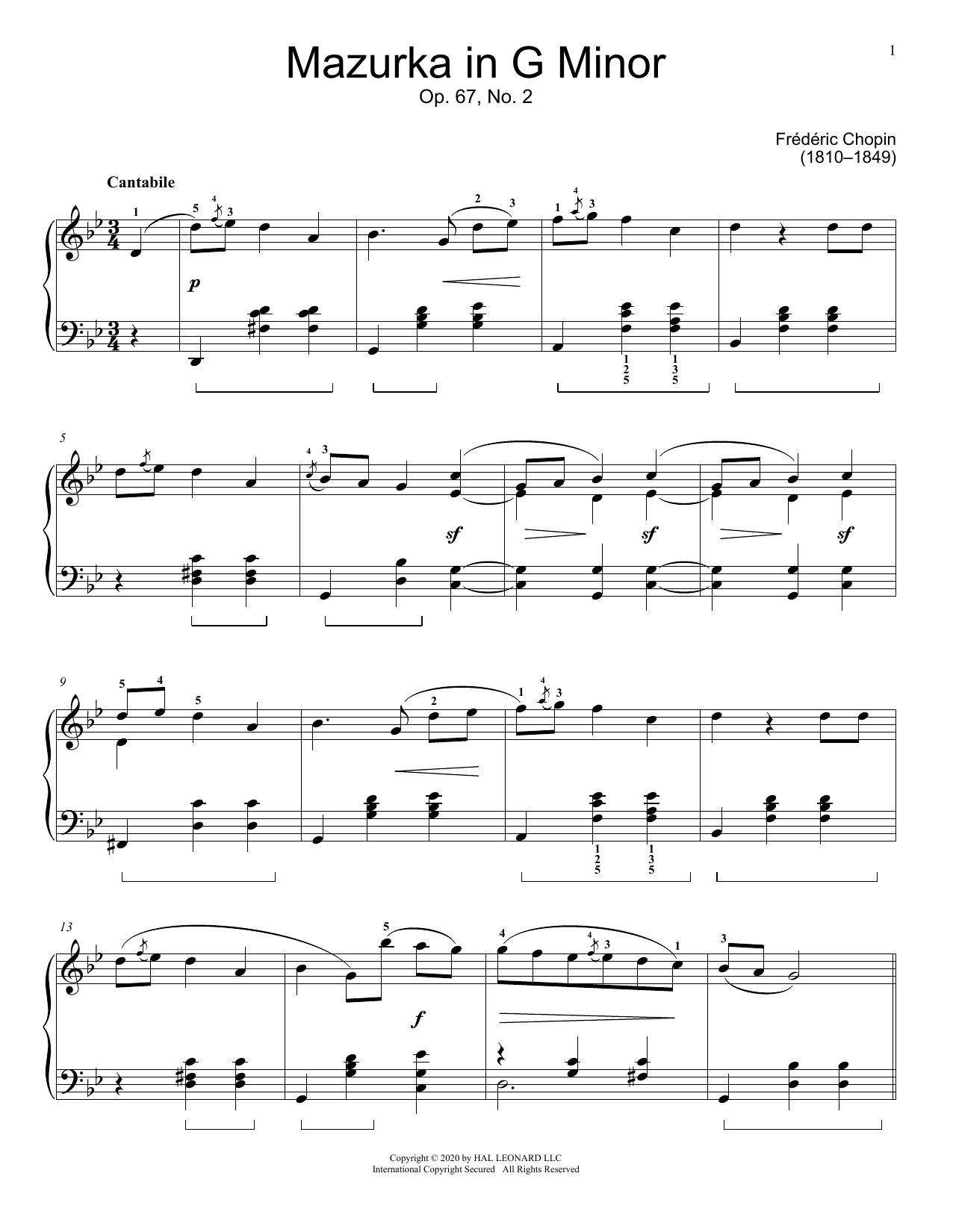 Mazurka, Op. 67, No. 2 (Educational Piano)