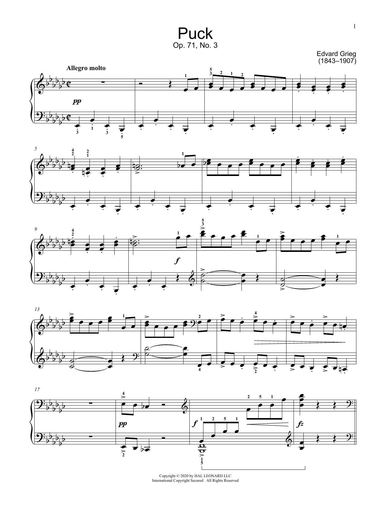 Puck, Op. 71, No. 3 (Educational Piano)