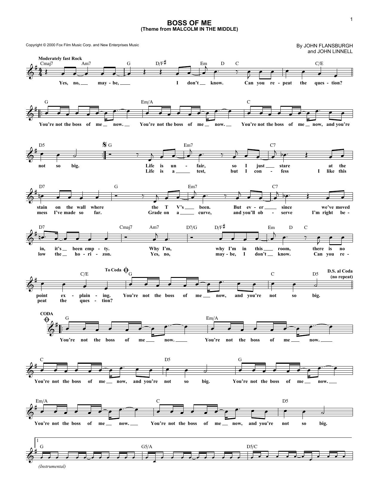 page one of Boss Of Me (Theme From Malcolm In The Middle)ASALTTEXT