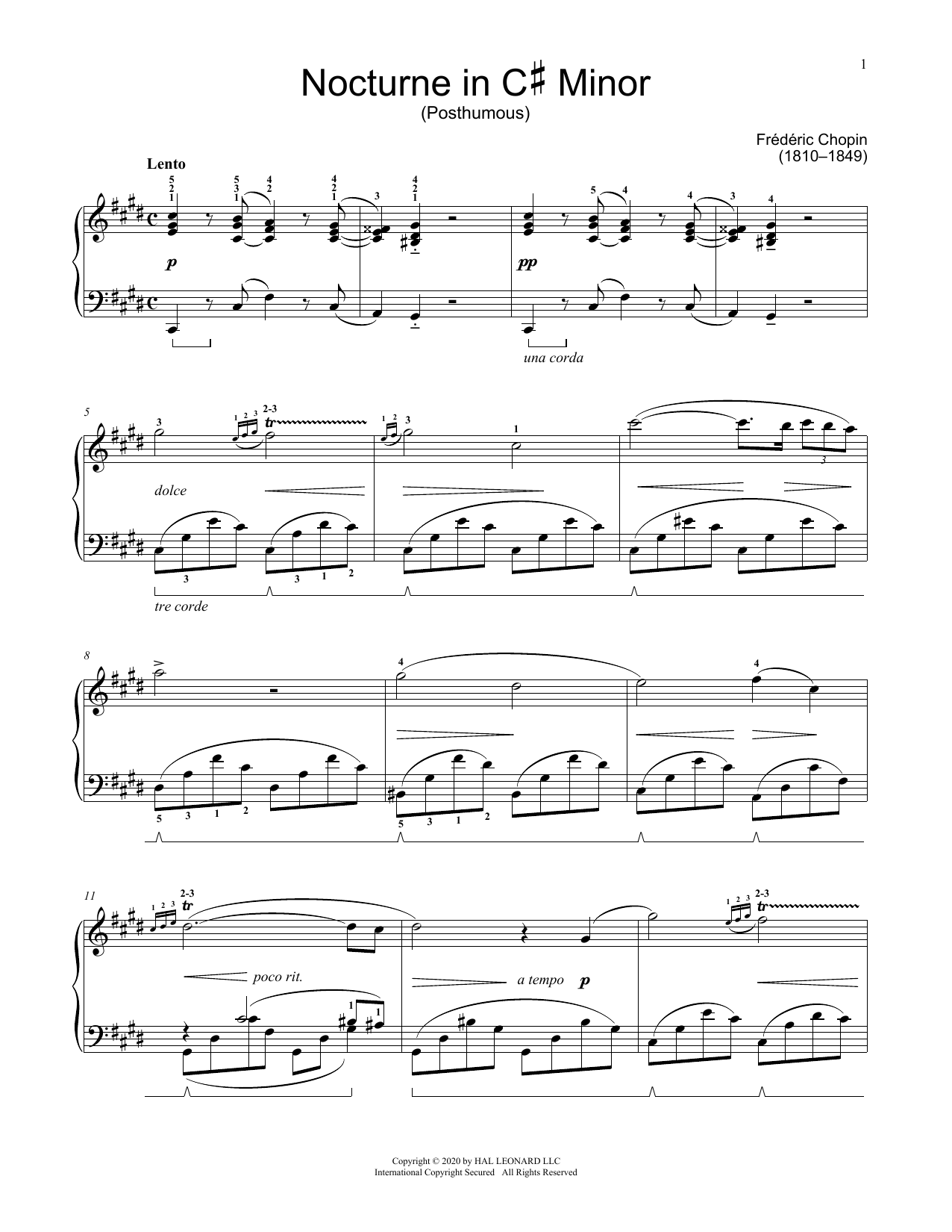Nocturne In C-Sharp Minor, KK. Anh. Ia, No. 6 (Educational Piano)