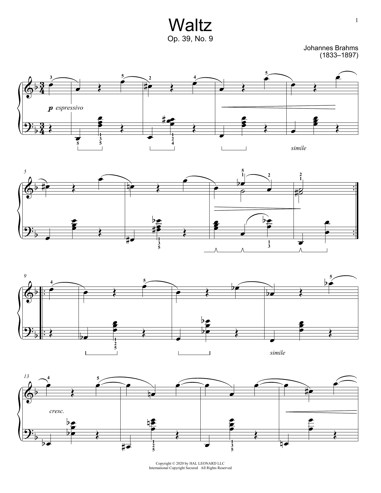 Waltz, Op. 39, No. 9 Sheet Music