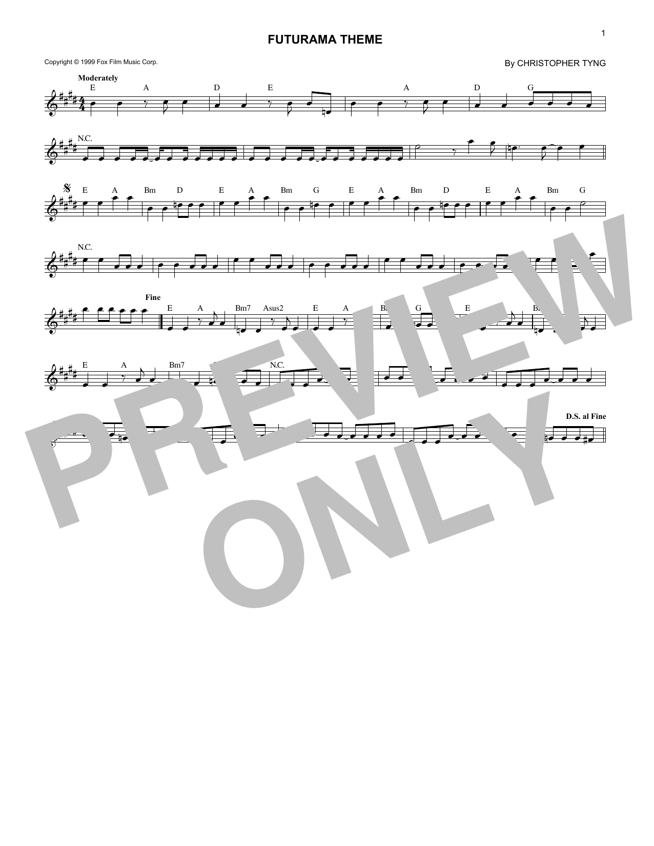 Futurama Theme (Lead Sheet / Fake Book)