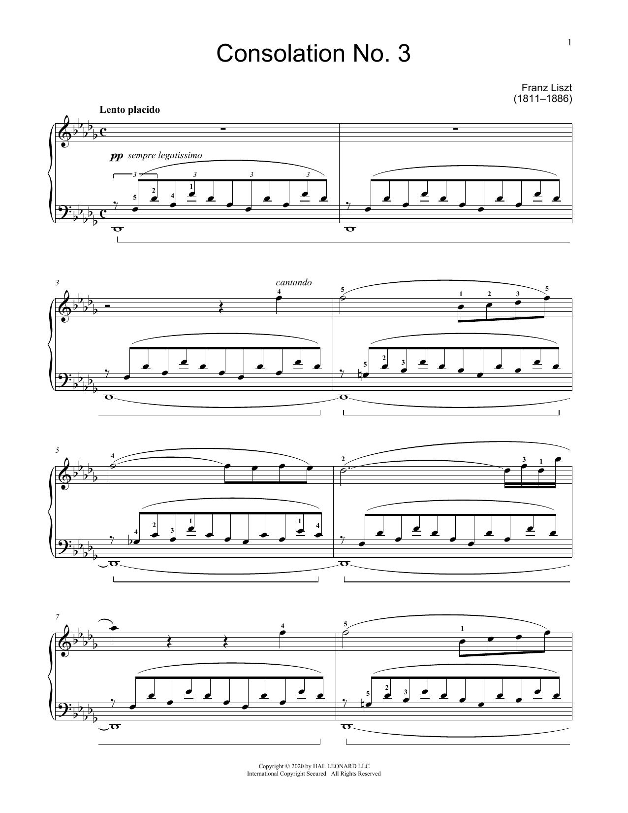 Consolation No. 3 In D-Flat Major Sheet Music
