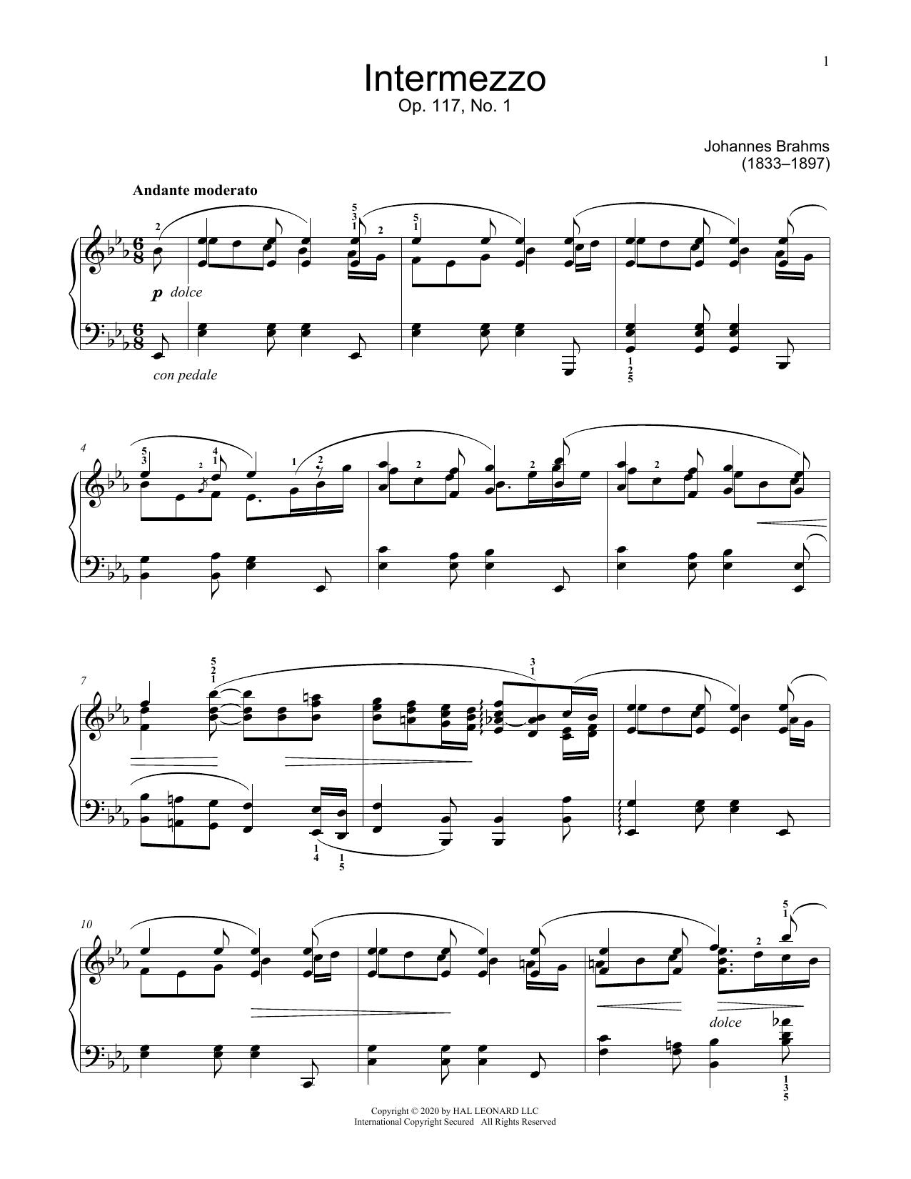 Intermezzo, Op. 117, No. 1 Sheet Music