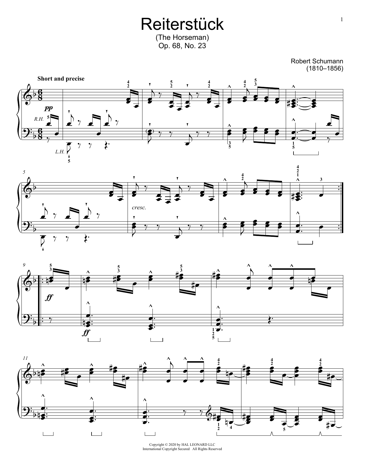 The Horseman, Op. 68, No. 23 Sheet Music