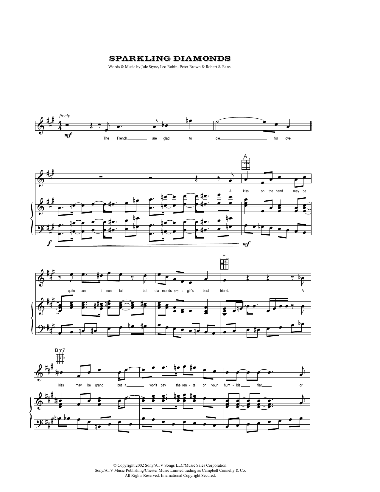 Sparkling Diamonds (from Moulin Rouge) (Piano, Vocal & Guitar (Right-Hand Melody))