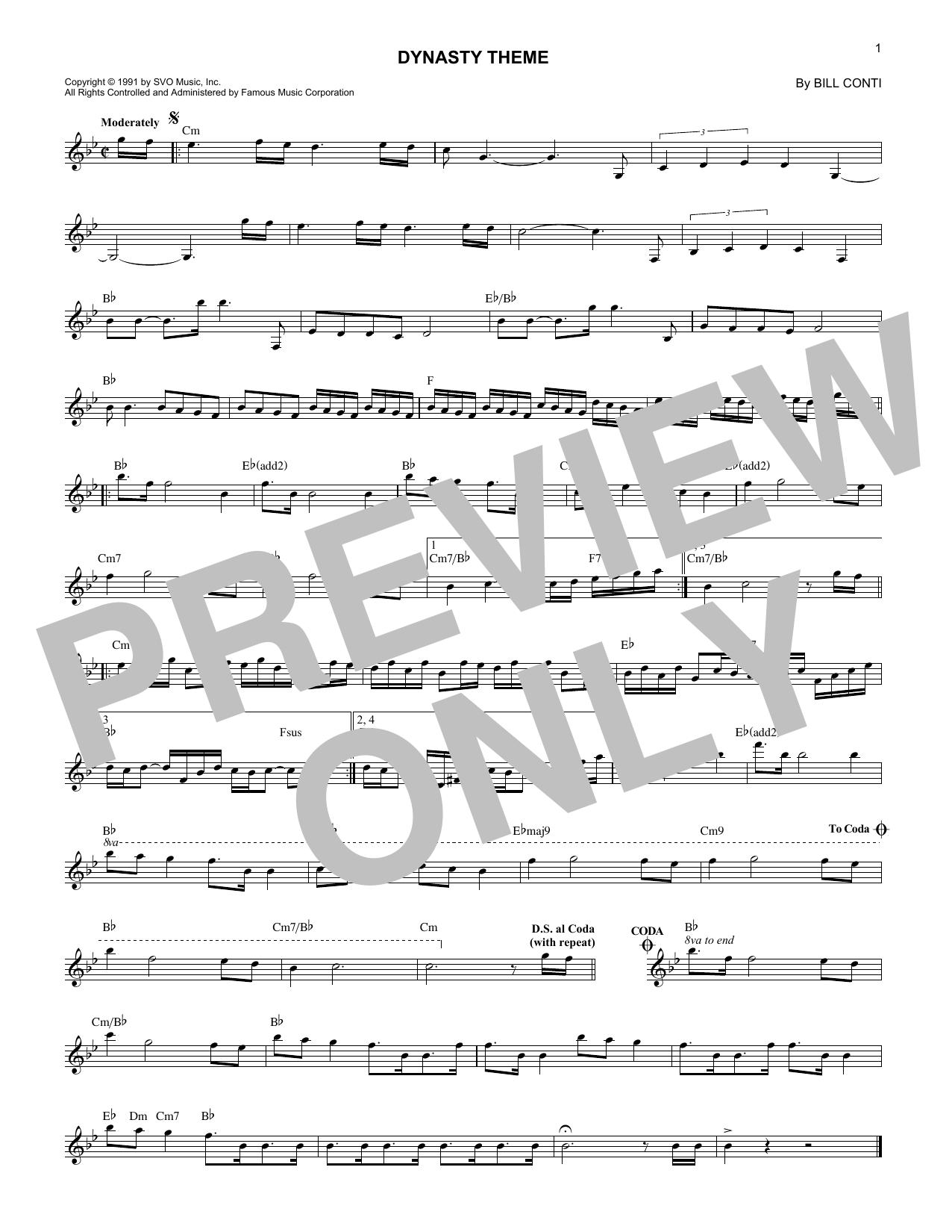 Dynasty Theme Sheet Music