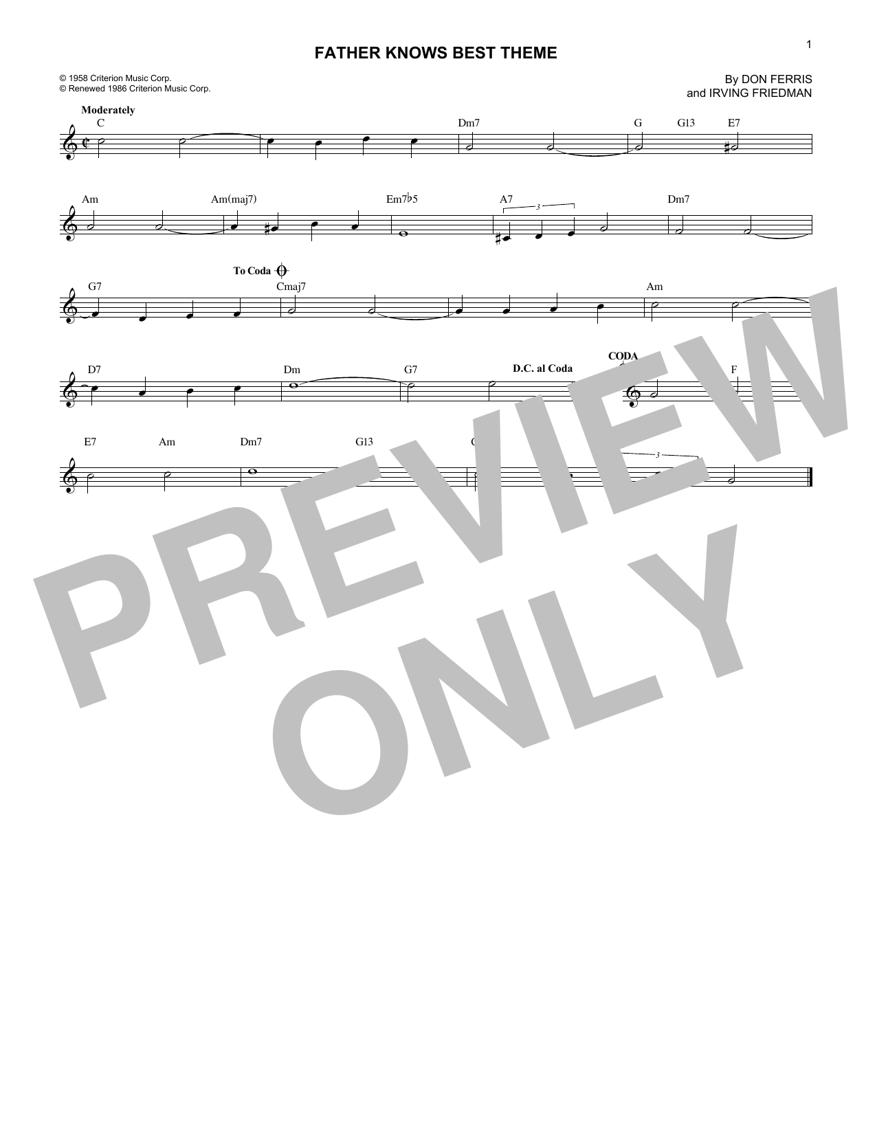 Father Knows Best Theme (Lead Sheet / Fake Book)
