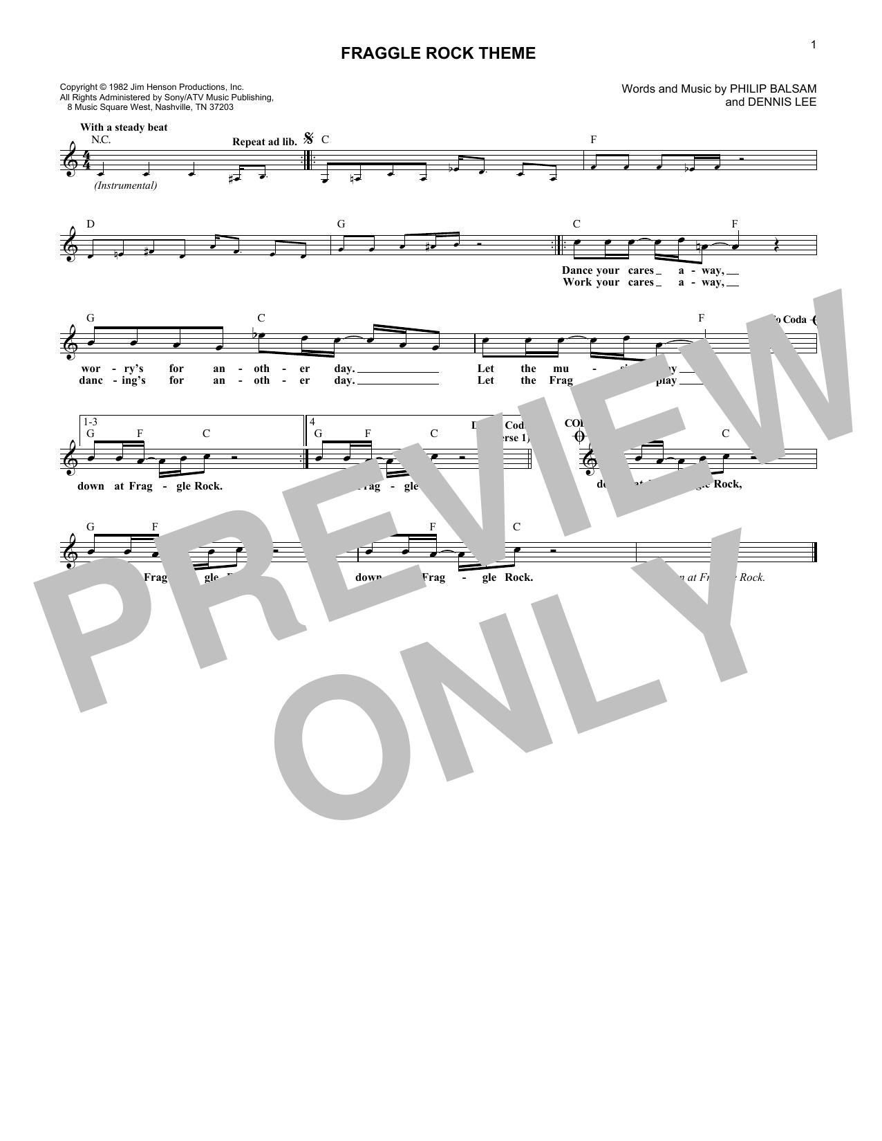 Fraggle Rock Theme (Lead Sheet / Fake Book)