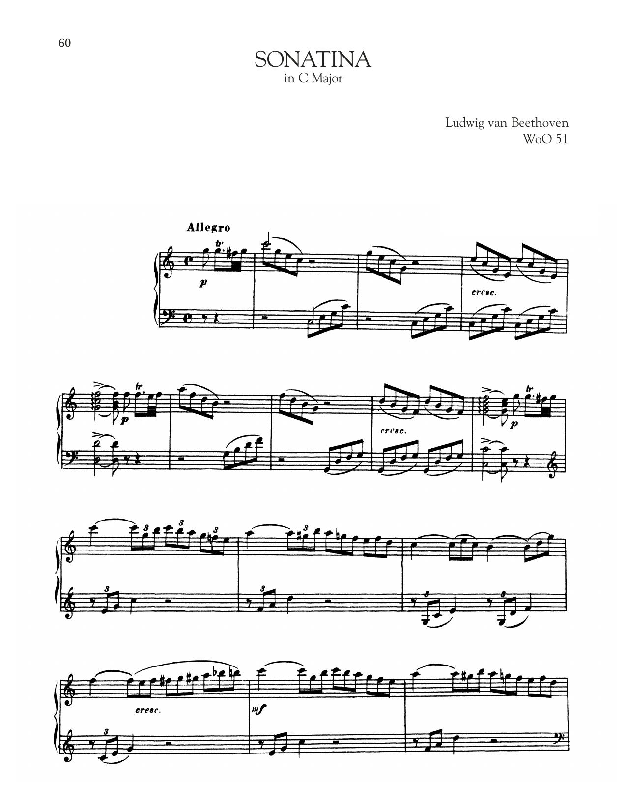 Sonata In C Major, WoO 51 (Piano Solo)