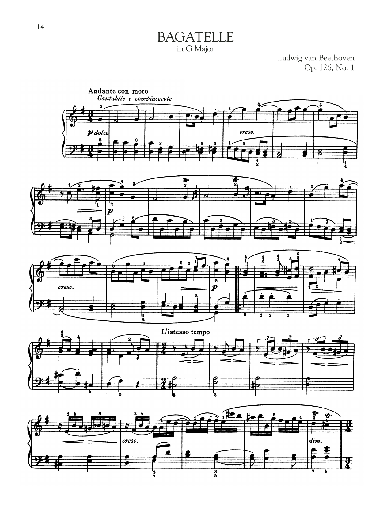 Bagatelle In G Major, Op. 126, No. 1 (Piano Solo)