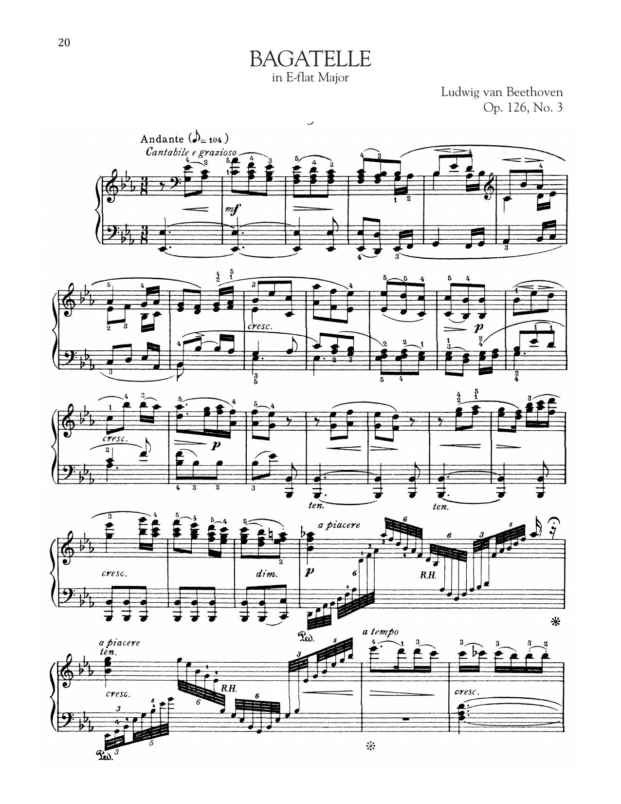Bagatelle In E-Flat Major, Op. 126, No. 3 (Piano Solo)