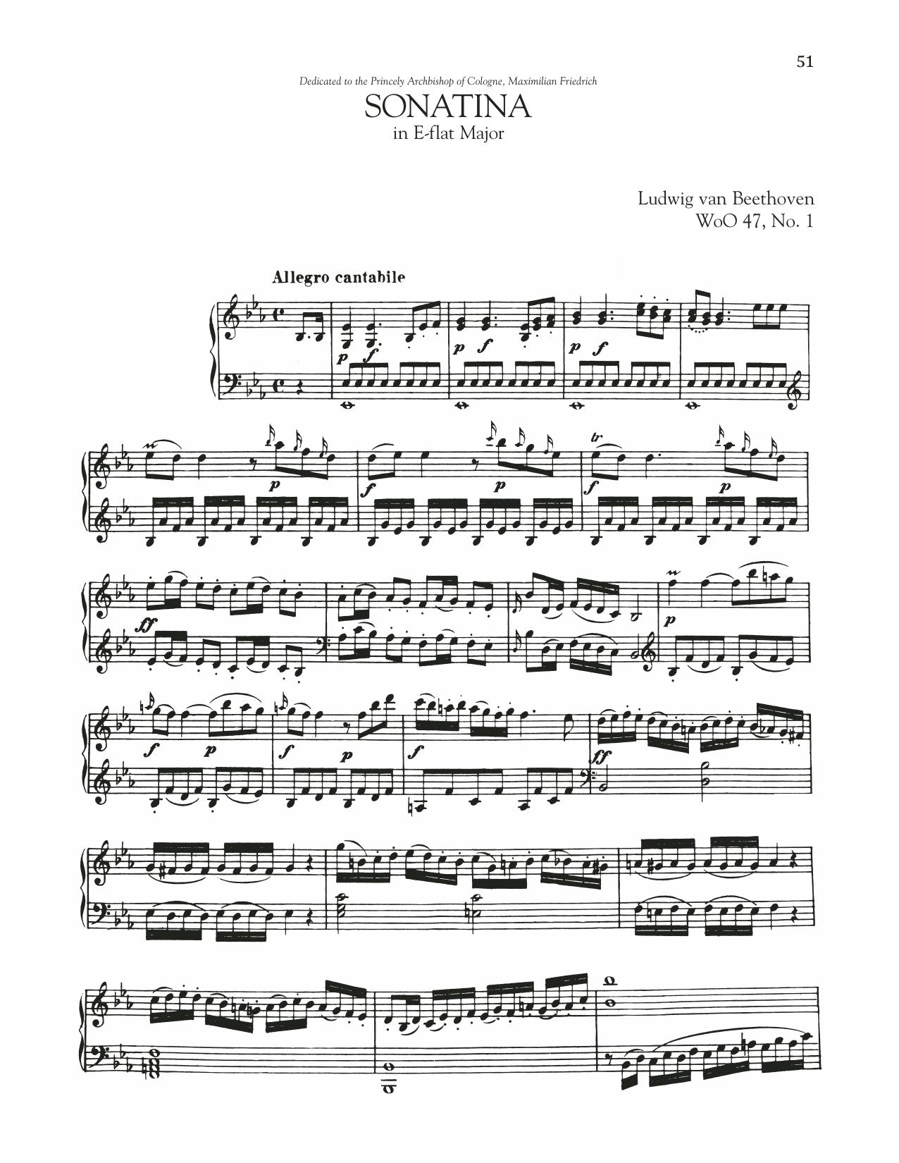 Sonata In E-Flat Major, WoO 47, No. 1 (Piano Solo)