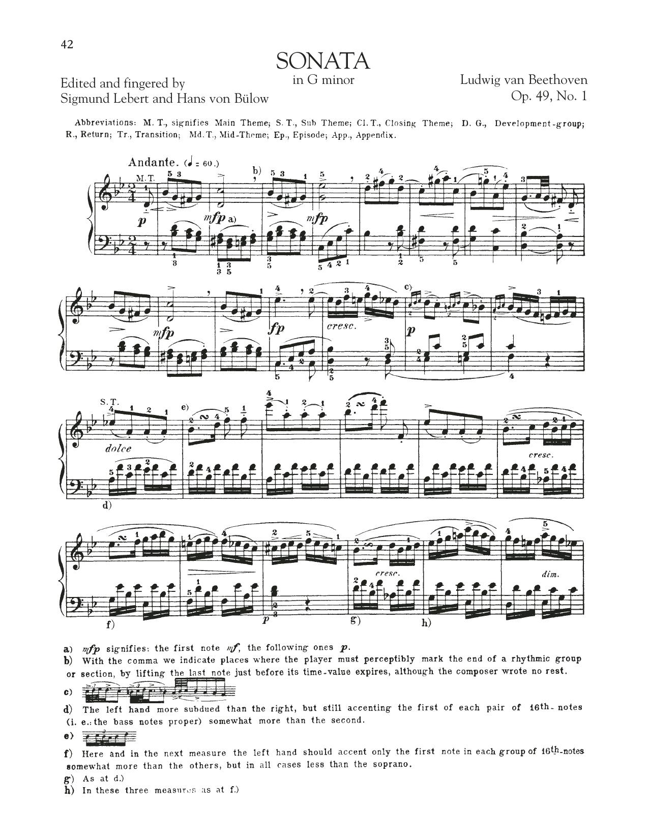 Sonata in G Minor, Op. 49, No. 1 Sheet Music