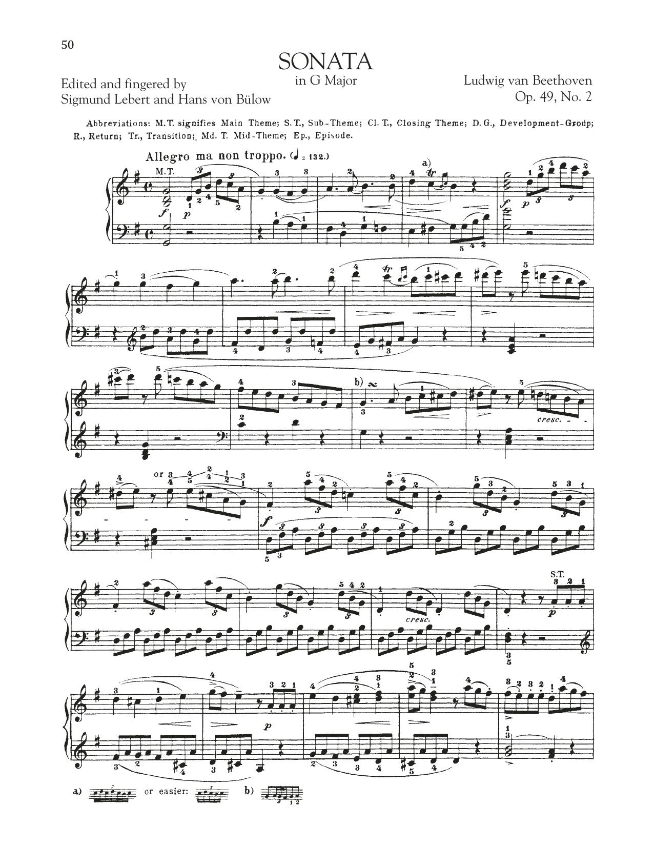 Sonata in G Major, Op. 49, No. 2 (Piano Solo)