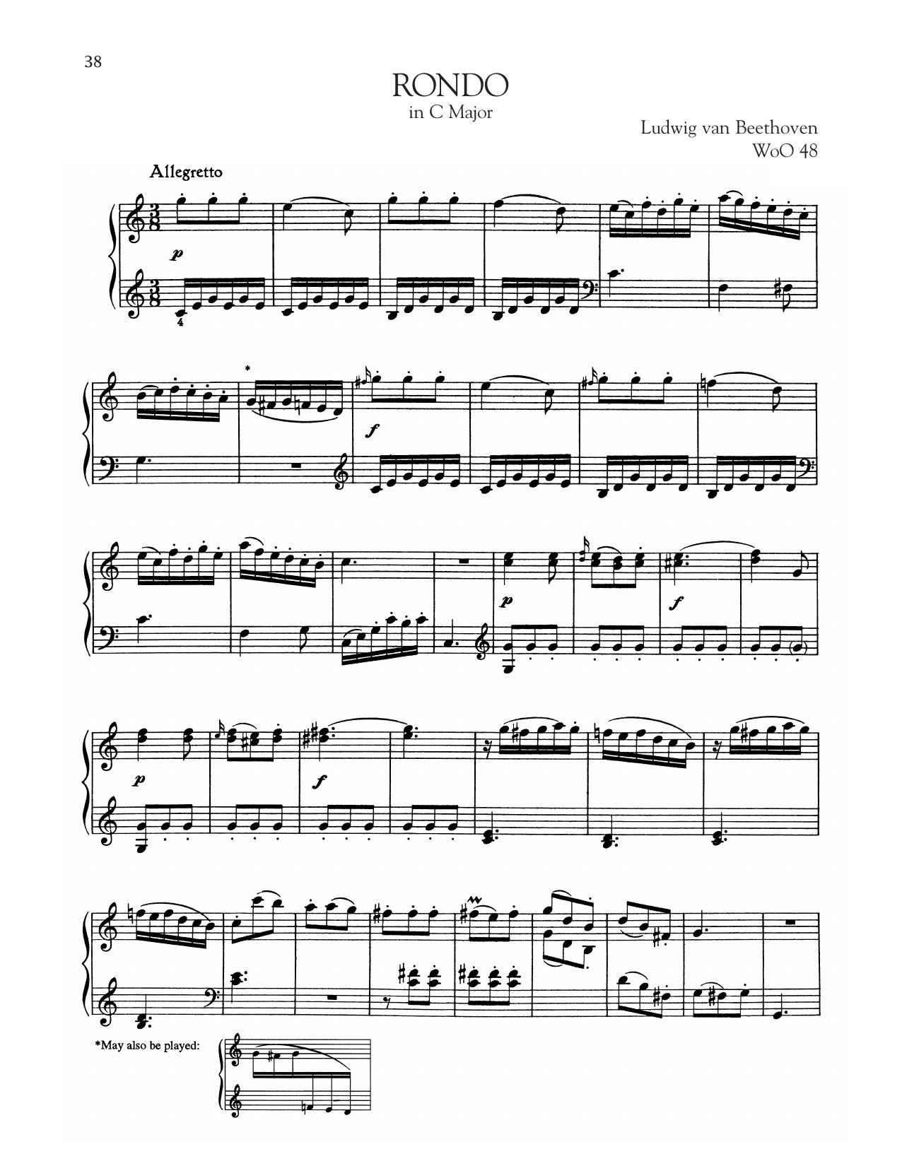 Rondo, WoO 48 (Piano Solo)