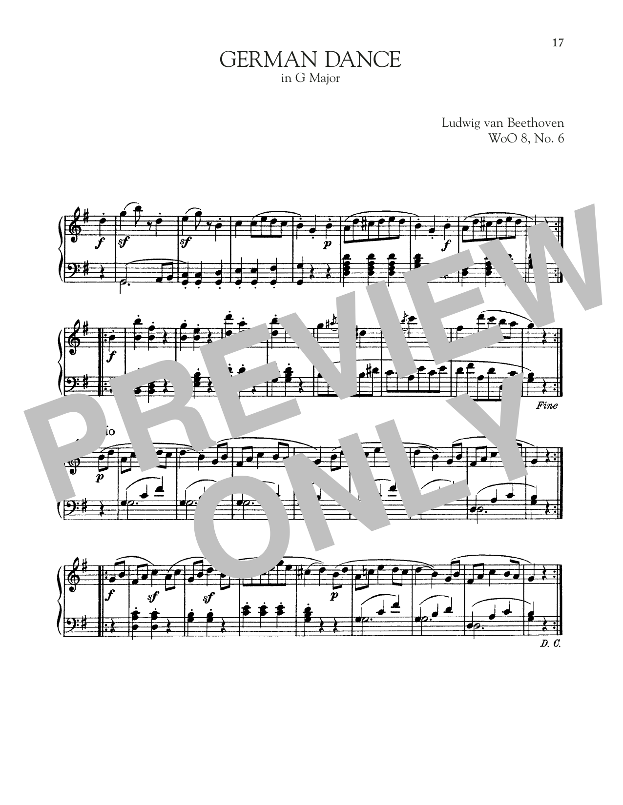 German Dance In G Major, WoO 8, No. 6 (Piano Solo)