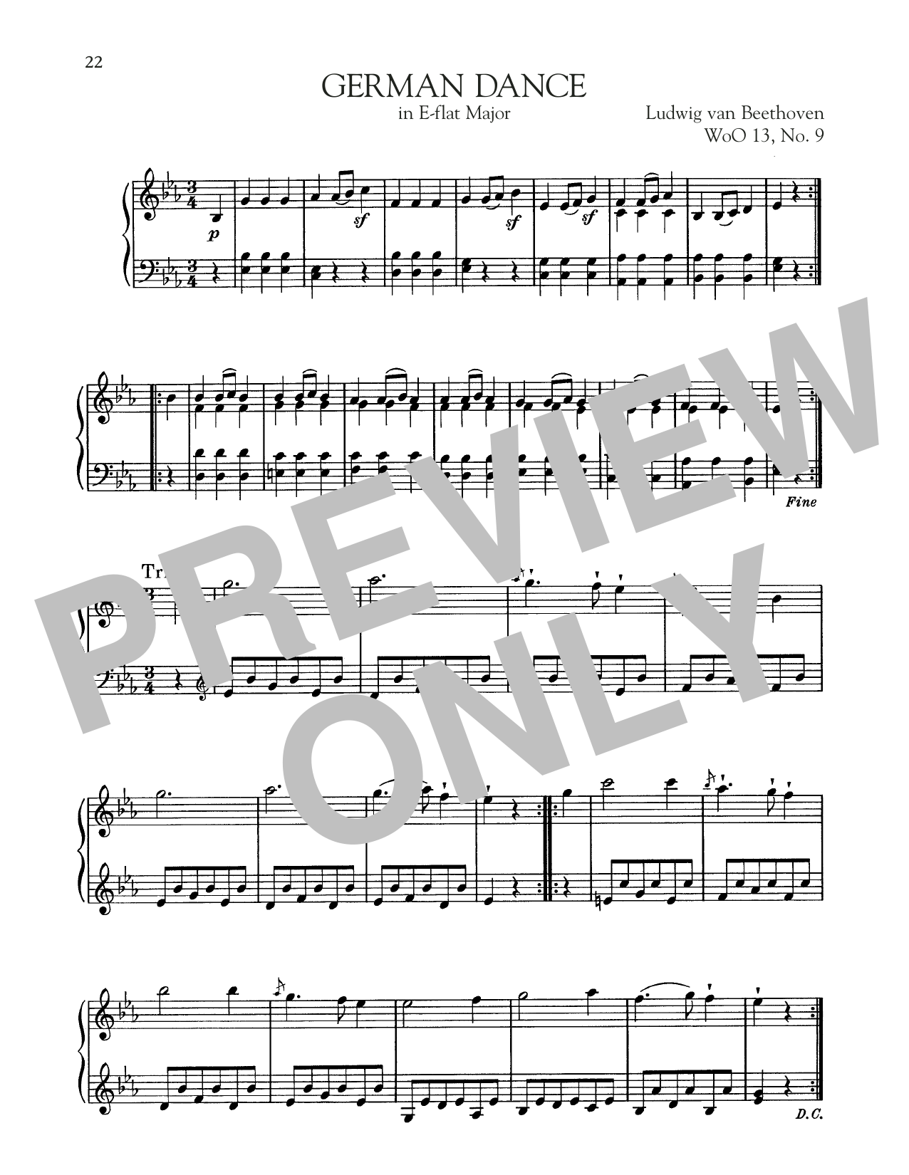 German Dance In E-Flat Major, WoO 13, No. 9 Sheet Music