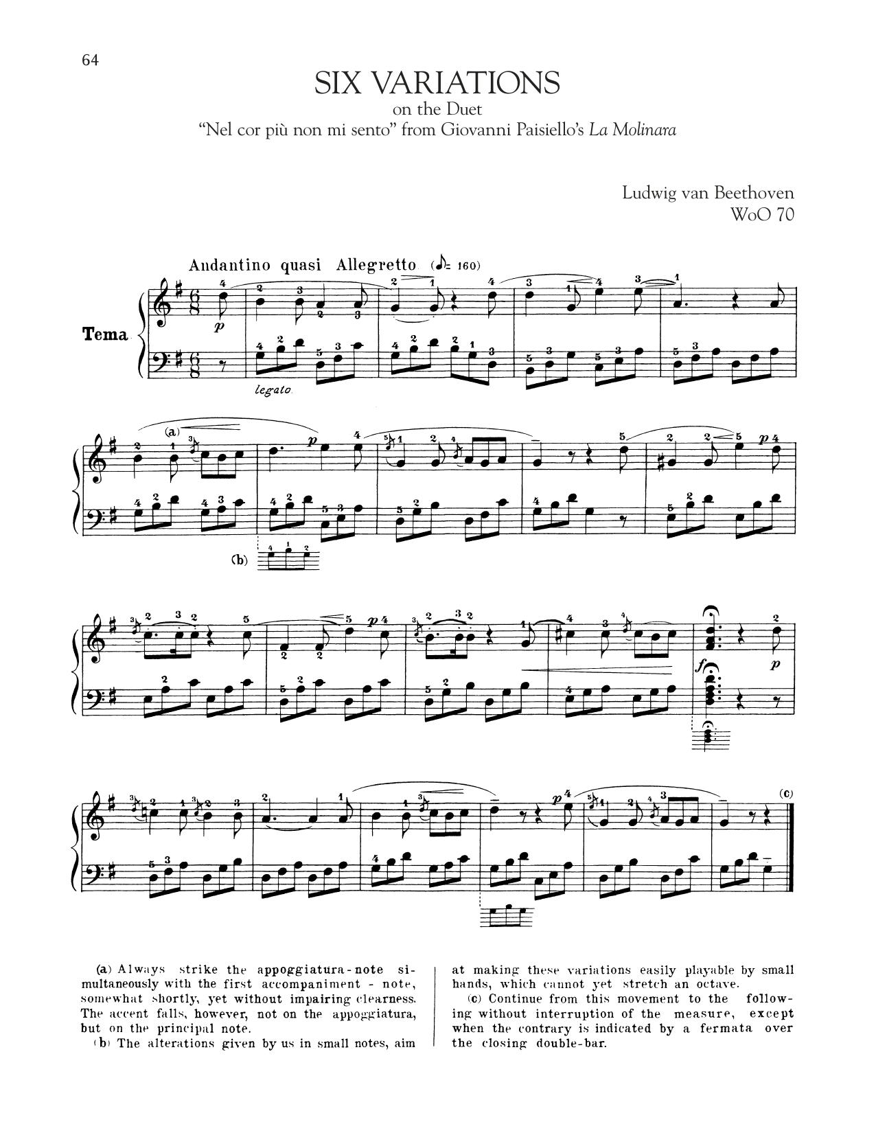 """Six Variations On """"Nel Cor Piu Non Mi Sento"""" (Piano Solo)"""