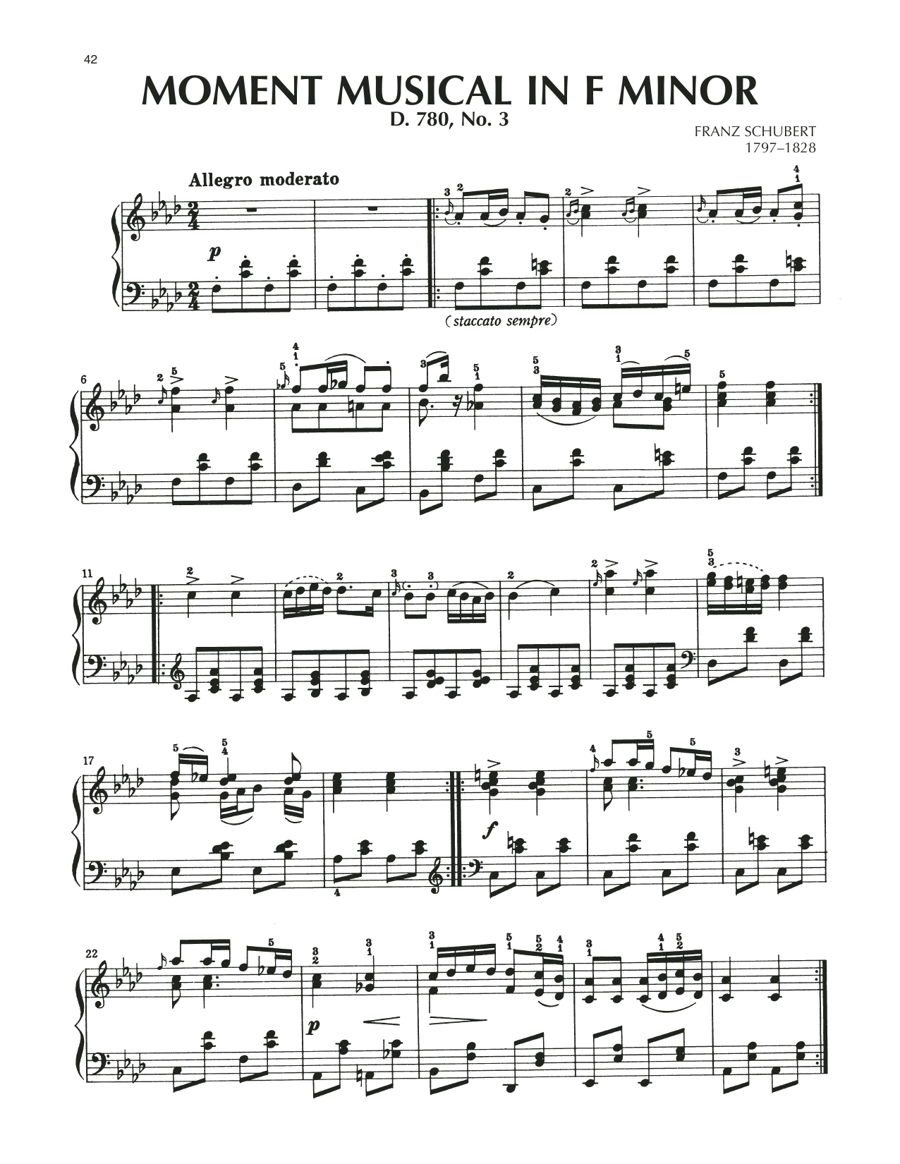 Moment Musical In F Minor, Op. 94, No. 2 Sheet Music