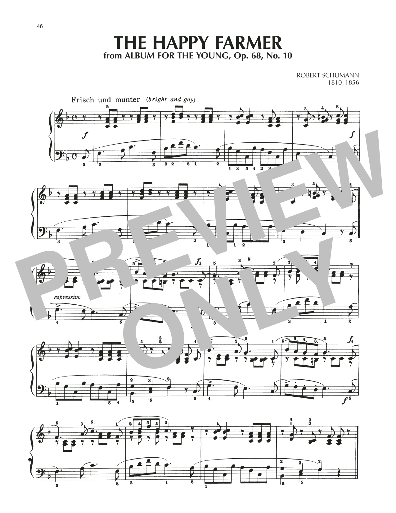 The Happy Farmer Returning From Work, Op. 68, No. 10 Sheet Music