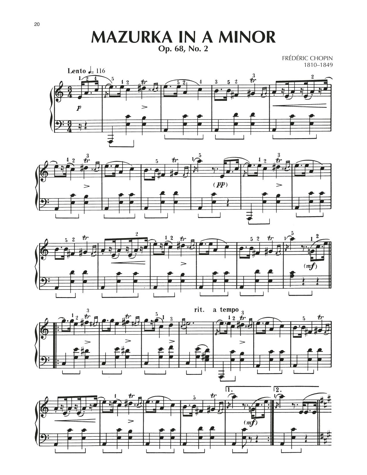 Mazurka, Op. 68, No. 2 (Piano Solo)