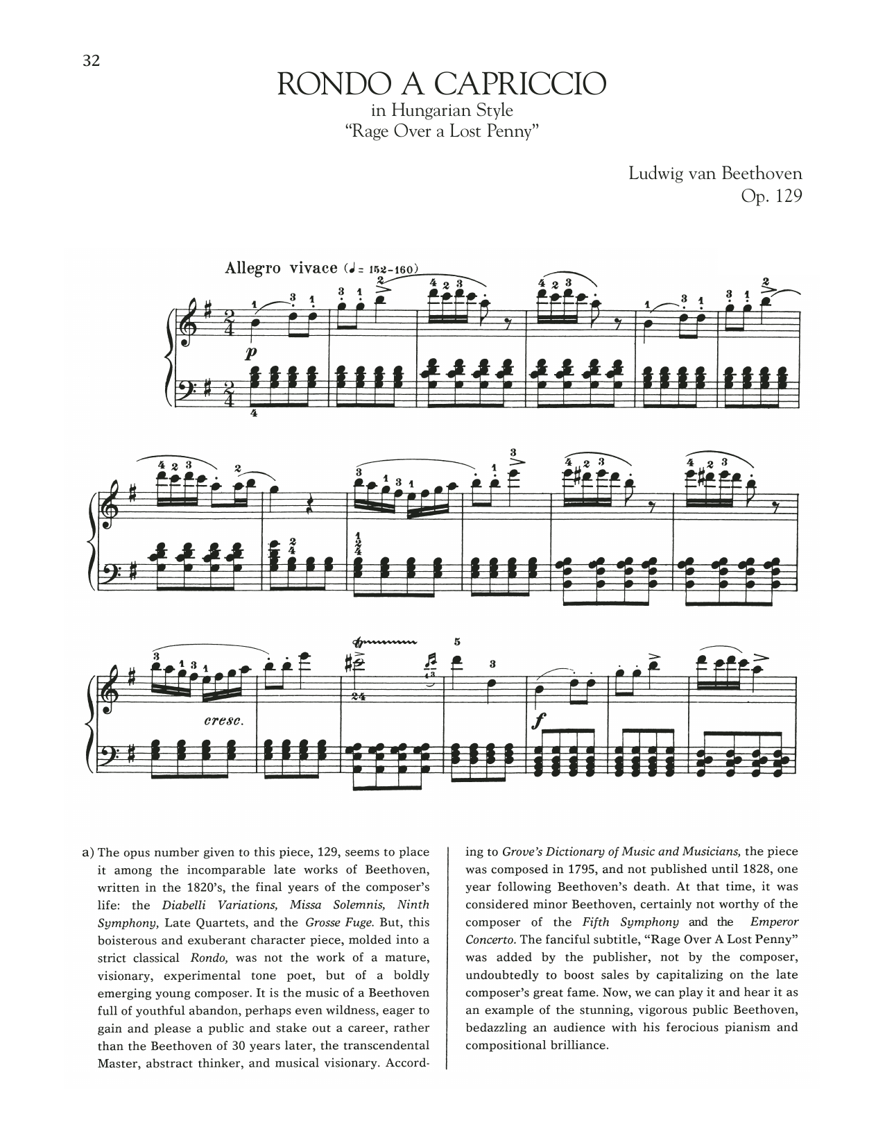 Rondo A Capriccio In Hungarian Style, Op. 129 Sheet Music