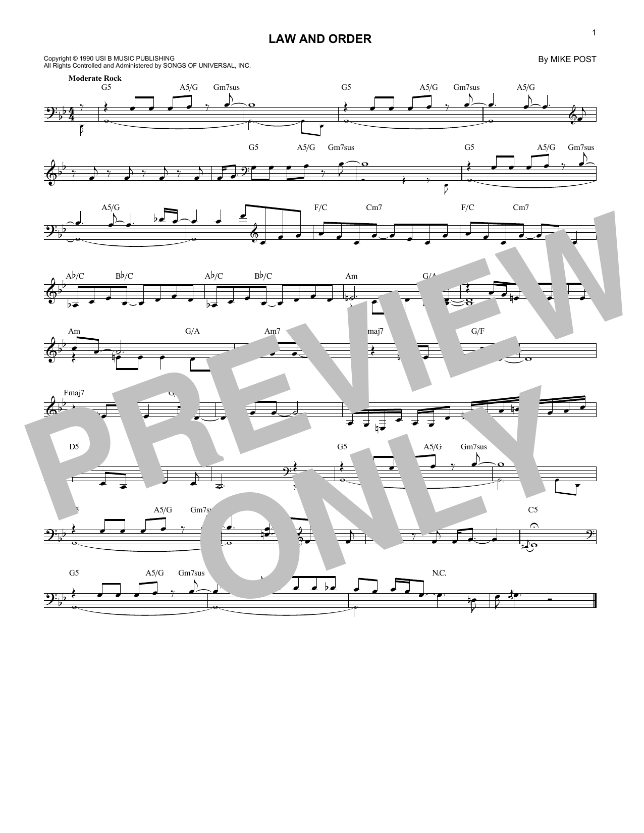 Law And Order Sheet Music