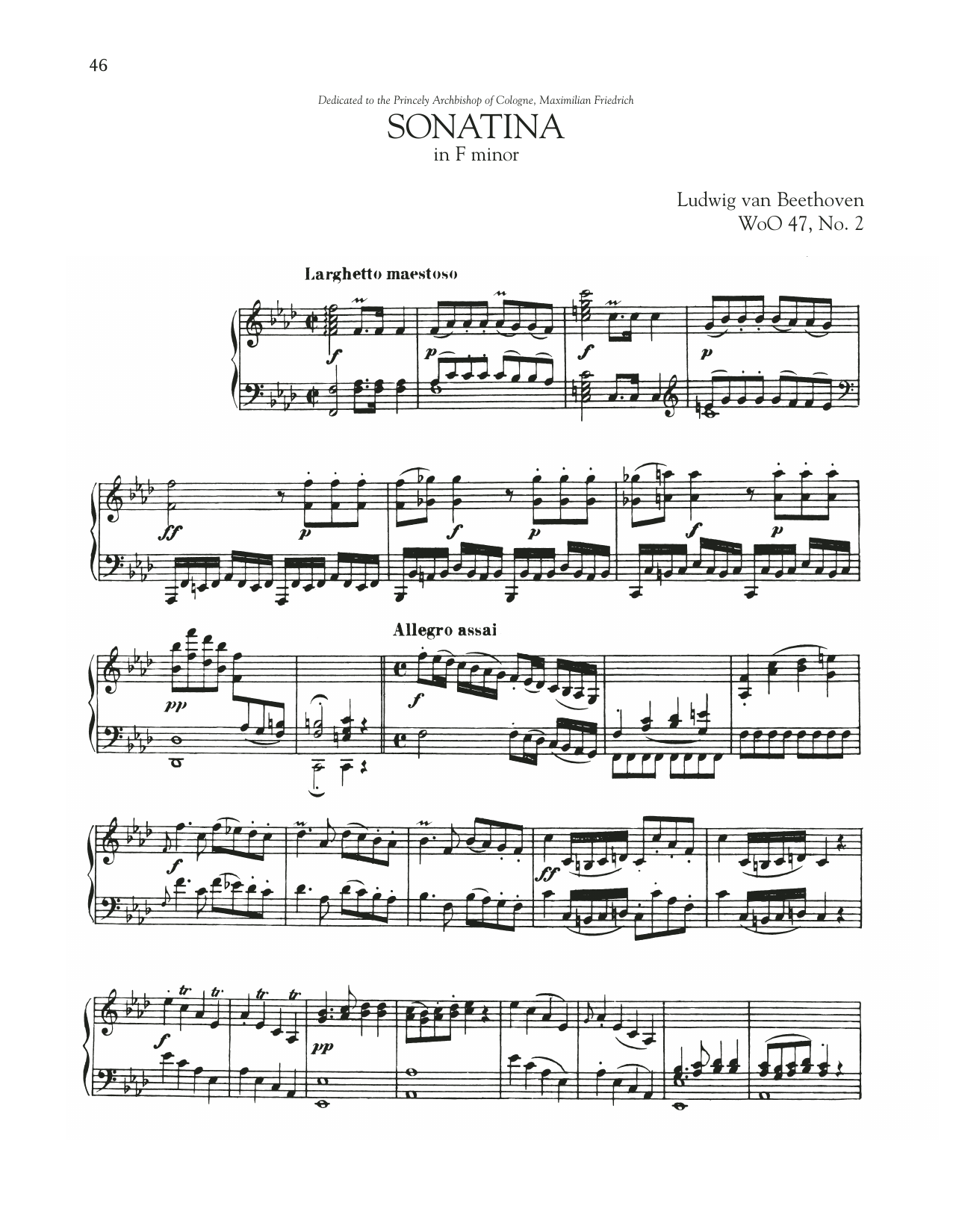 Sonata In F Minor, WoO 47, No. 2 Sheet Music