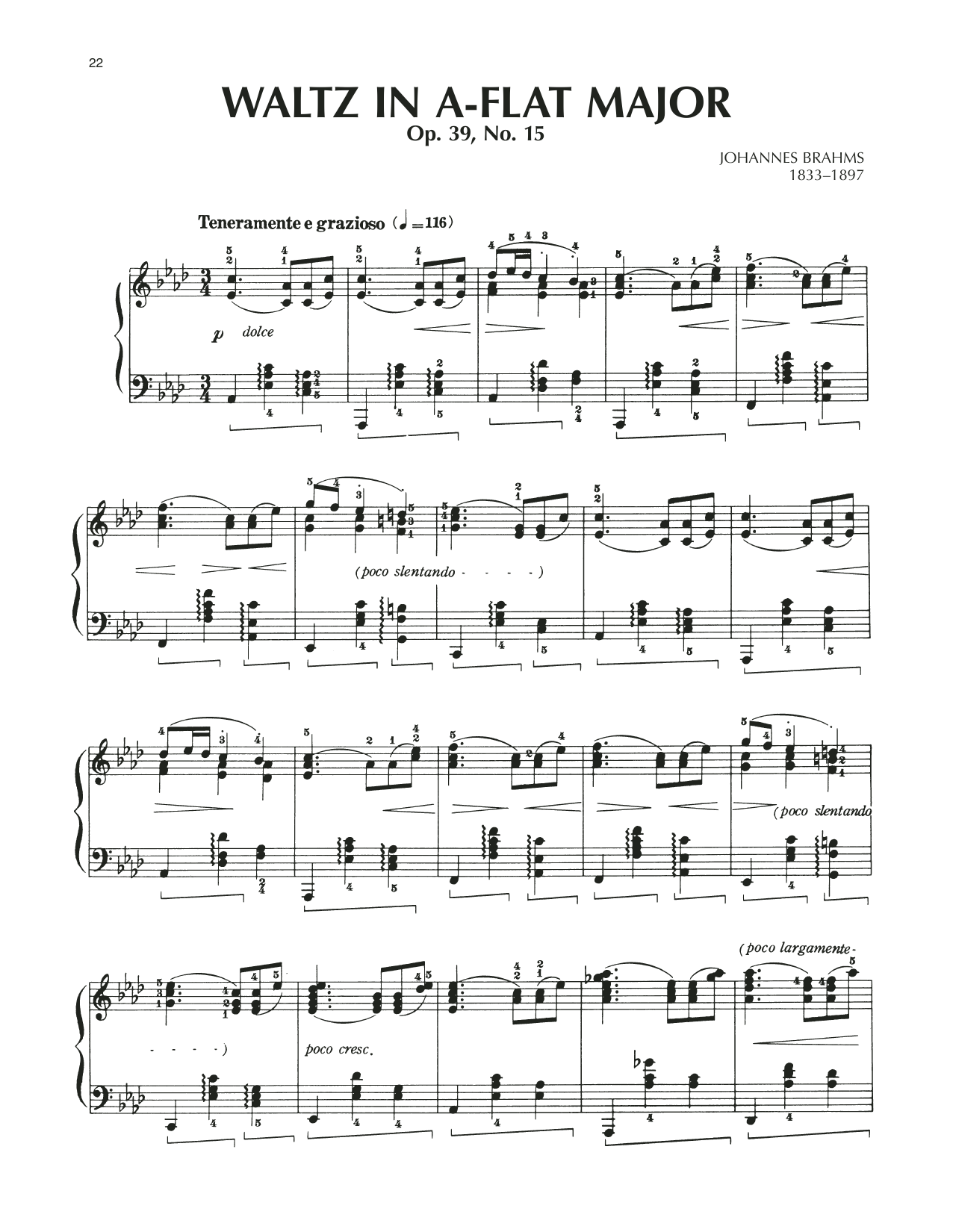 Waltz In A-Flat Major, Op. 39, No. 15 Sheet Music