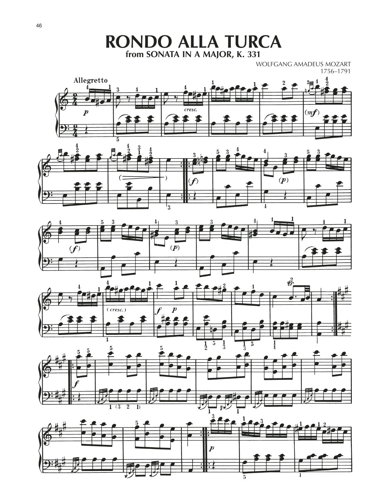 Rondo: Allegretto (Alla Turca), K. 331 (Piano Solo)