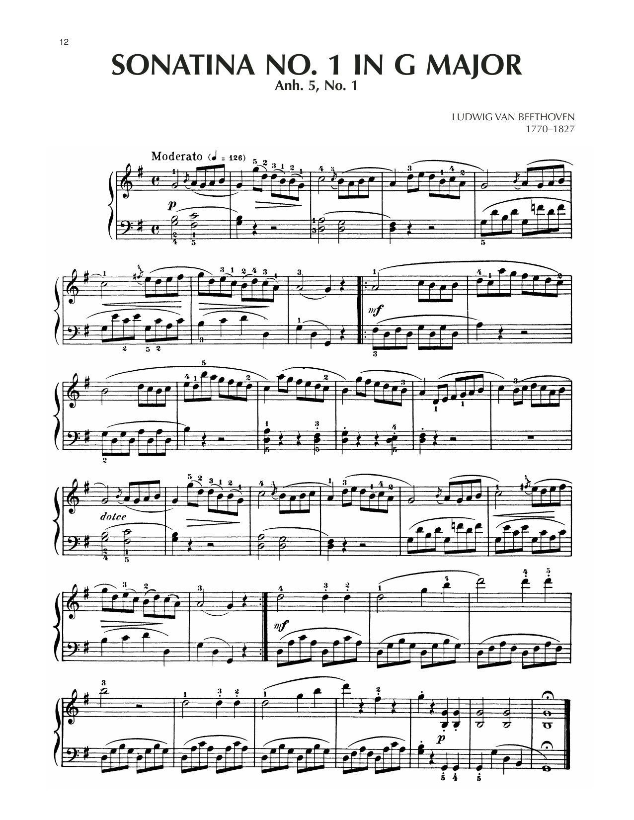 Sonatina In G Major, Anh. 5, No. 1 Sheet Music