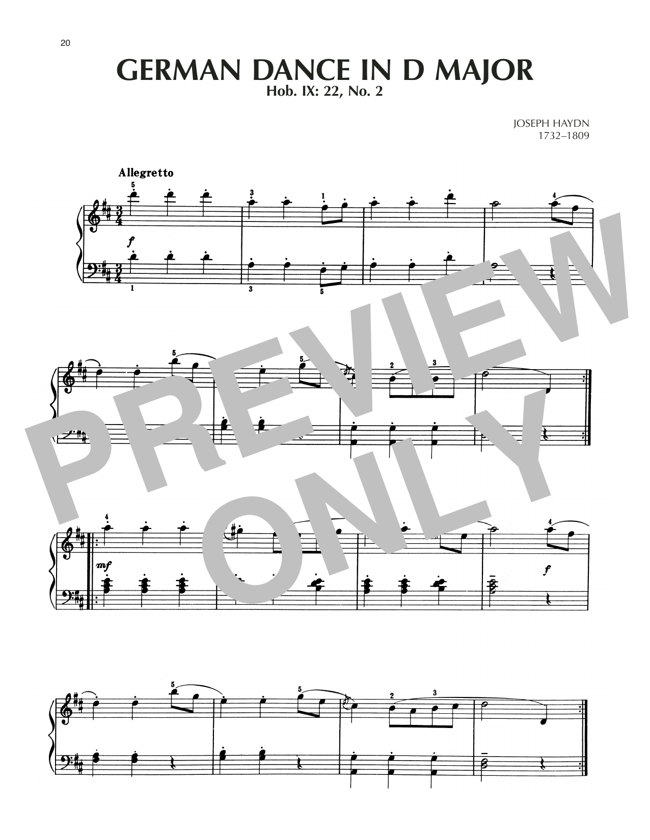 German Dance In D Major, Hob. IX: 22, No. 2 Sheet Music
