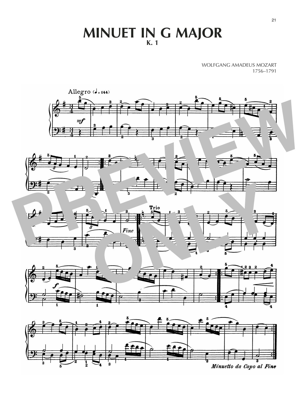 Minuet In G Major, K. 1 Sheet Music