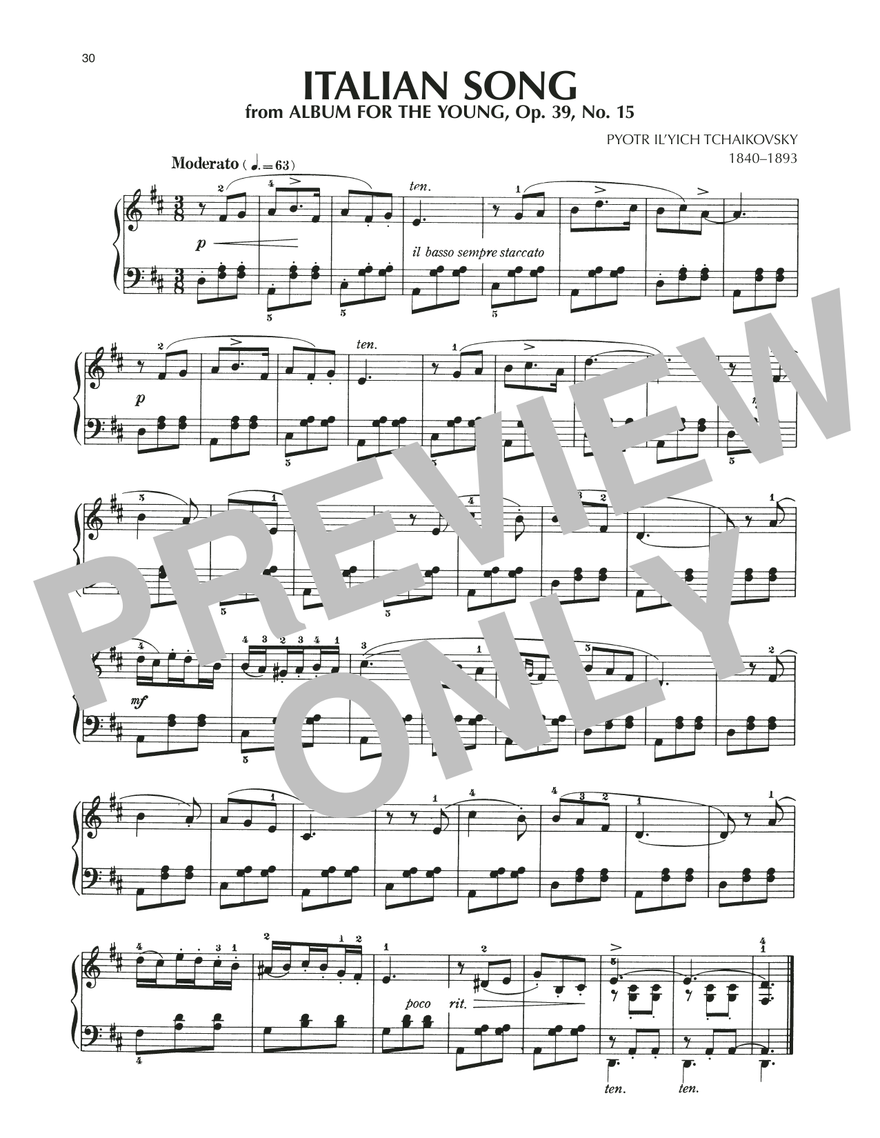 Italian Song, Op. 39, No. 15 Partition Digitale