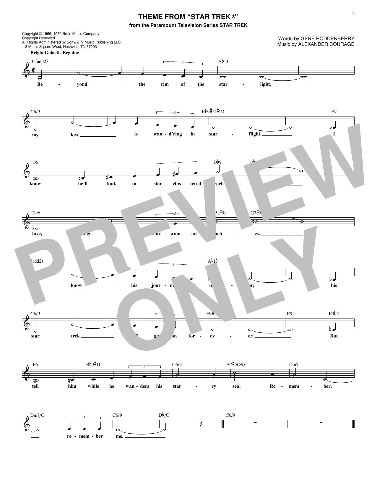 Theme From Star Trek Sheet Music