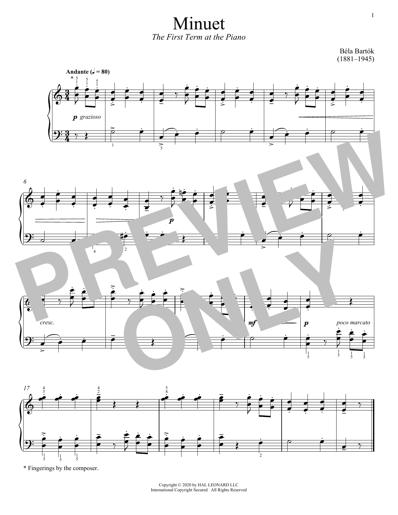 The First Term At The Piano, Minuet (Piano Solo)