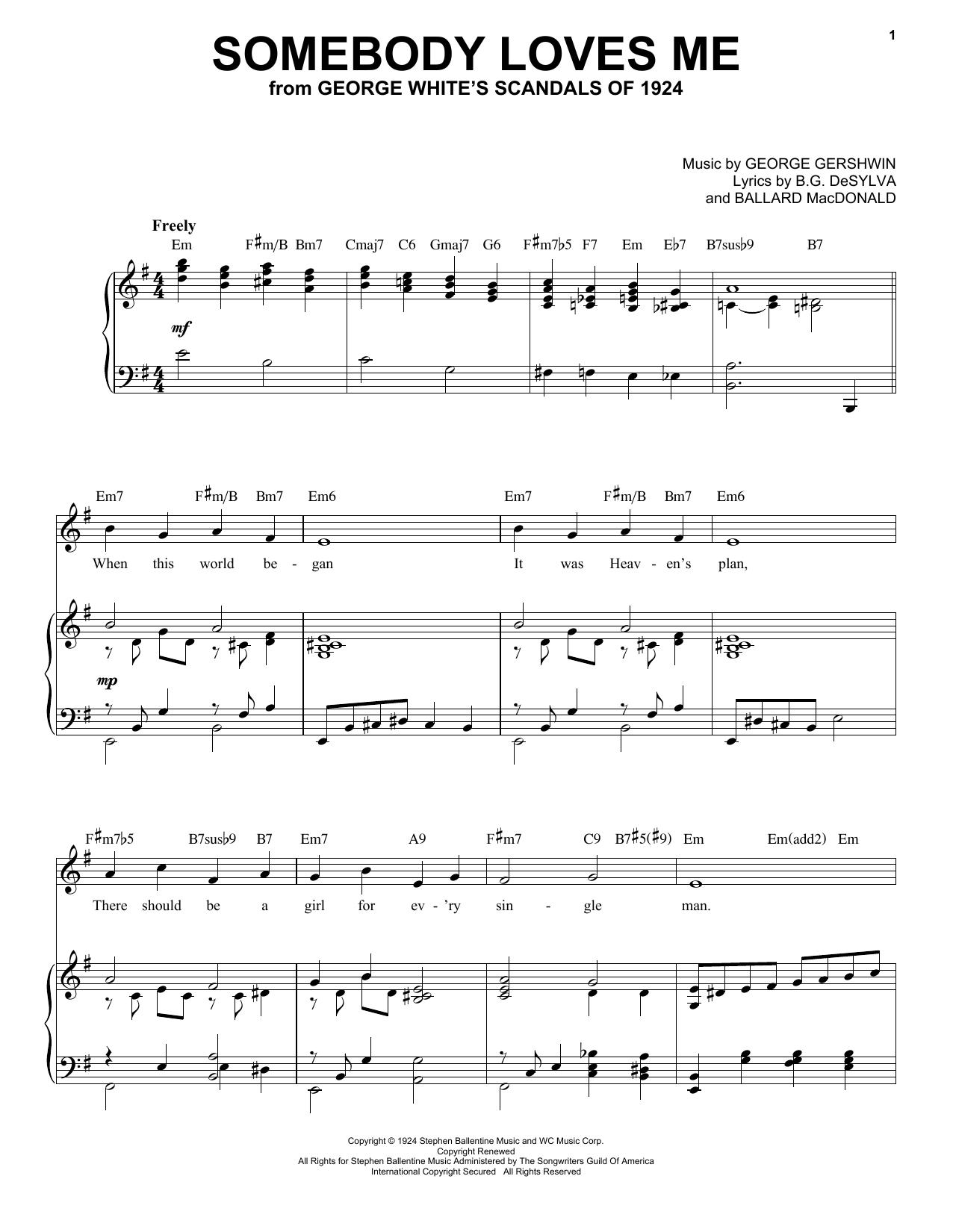 Somebody Loves Me [Jazz version] (arr. Brent Edstrom) (Piano & Vocal)