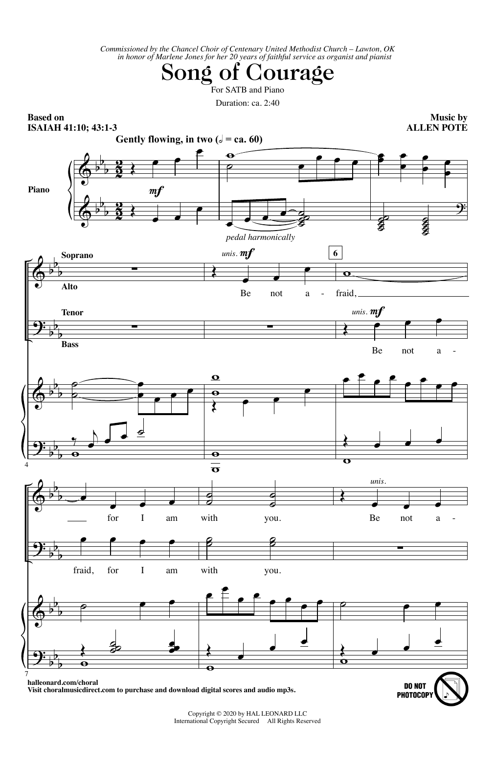 Song Of Courage Sheet Music