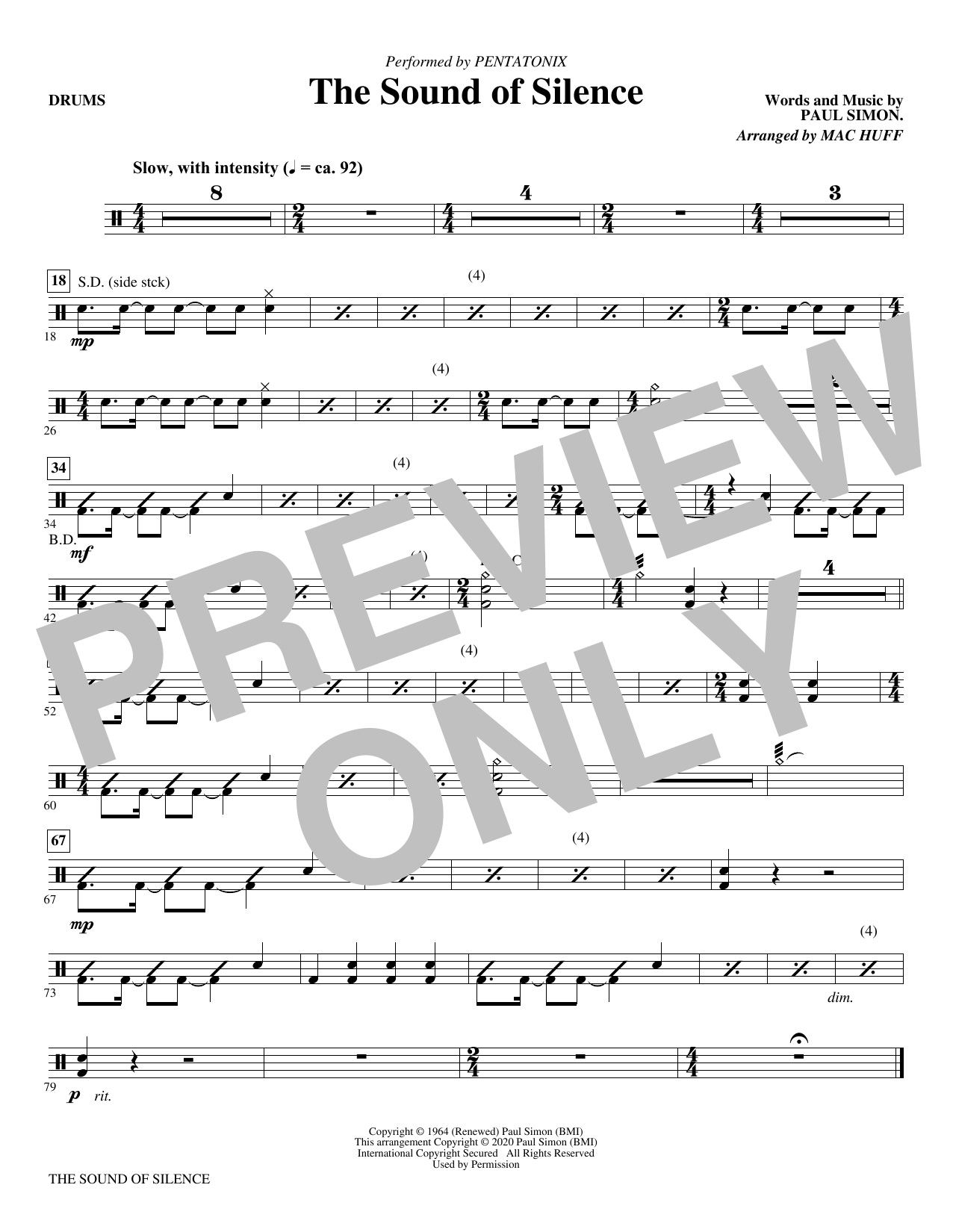 The Sound of Silence (arr. Mac Huff) - Drums Sheet Music