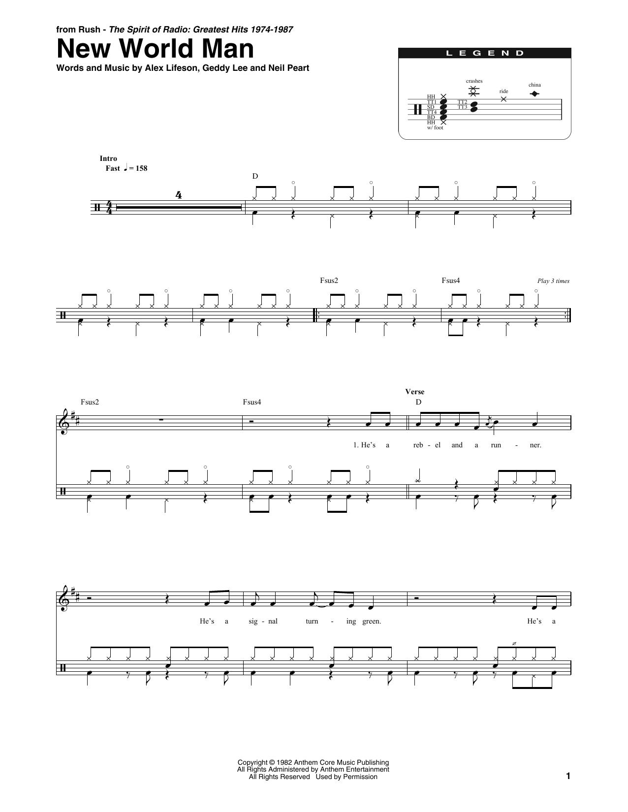 New World Man (Drums Transcription)