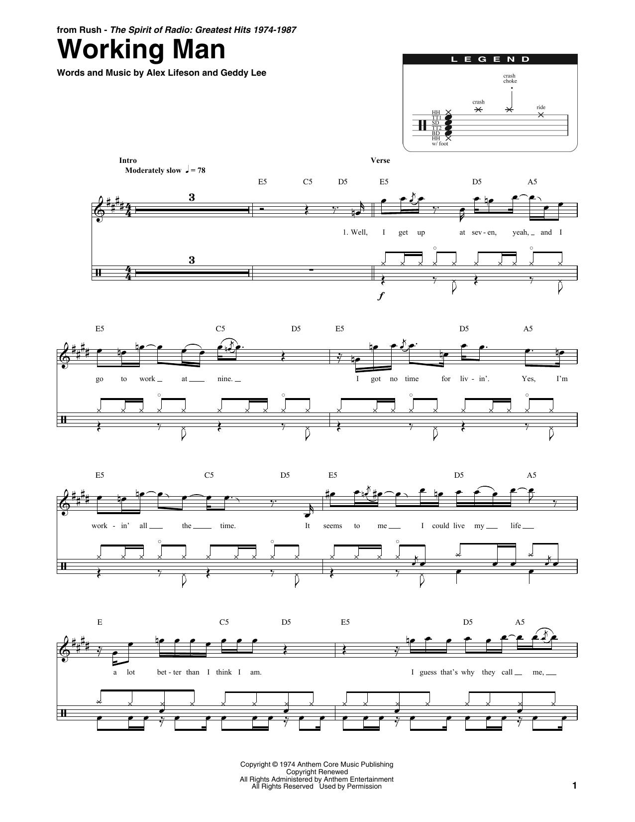 Working Man Sheet Music