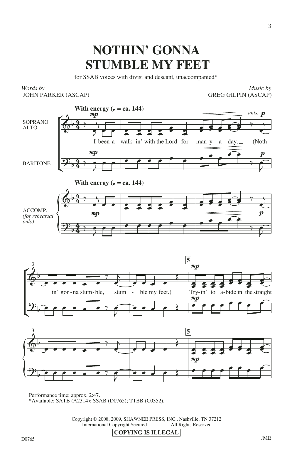 Nothin' Gonna Stumble My Feet Sheet Music