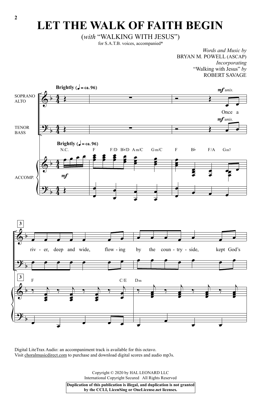 """Let The Walk Of Faith Begin (with """"Walking With Jesus"""") Sheet Music"""