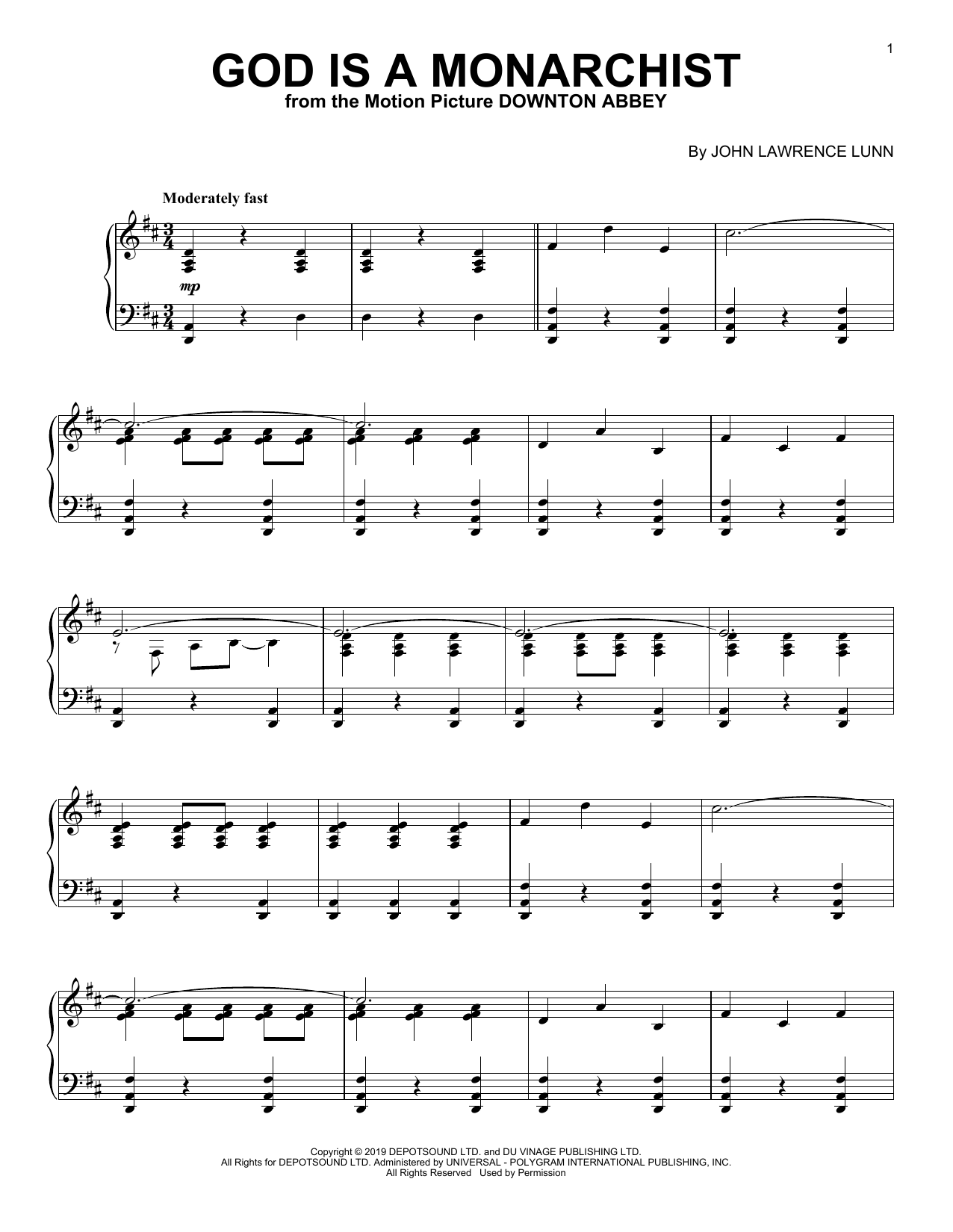 God Is A Monarchist (from the Motion Picture Downton Abbey) (Piano Solo)