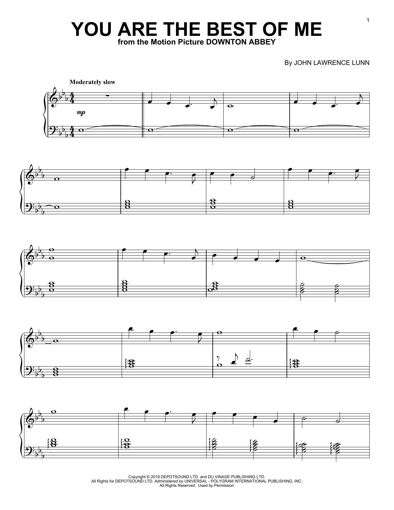 You Are The Best Of Me (from the Motion Picture Downton Abbey) (Piano Solo)